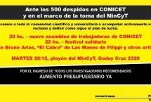 20/12: Nueva Asamblea contra el ajuste y despidos en el CONICET